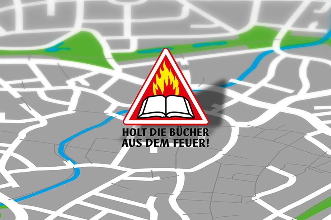 """Logo """"Holt die Bücher aus dem Feuer"""""""